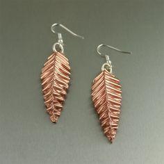 #Fold #Formed Corrugated #Copper Leaf #earrings