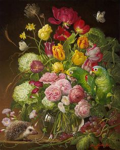 Artist: Yana   Movchan, Title: Floral with Hedgehog - click to close window