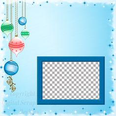 "Layout QP 12A.....Quick Page, Blue, Digital Scrapbooking, Christmas Time Collection, 12"" x 12"", 300 dpi, PNG File Format"