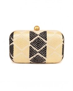 Cream and Black Phulkari Clutch