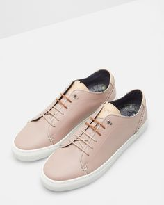Leather brogue trainers - Light Pink | Footwear | Ted Baker SEU