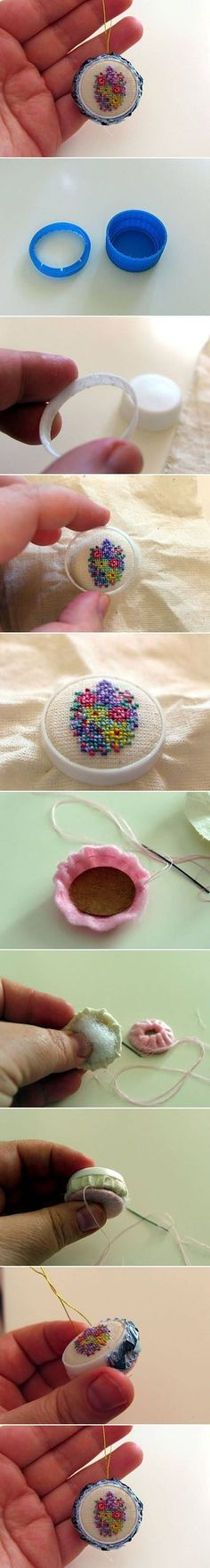 DIY Weaved Bottle Cap Ornament, DIY and Crafts, embroidery stitching using a soda pop soft drink bottle lid, cute pretty floral design, could be used as ornaments or jewelry ༺✿ƬⱤღ www. Ribbon Embroidery, Cross Stitch Embroidery, Embroidery Patterns, Cross Stitch Patterns, Embroidery Digitizing, Embroidery Needles, Embroidery Jewelry, Diy Bottle, Bottle Crafts
