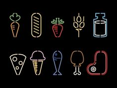 like neon store signs - Food Pictograms by Jorge Mar