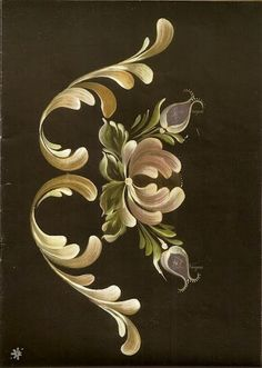 The beauty and flow of rosemaling would be gorgeous duplicated in felt.