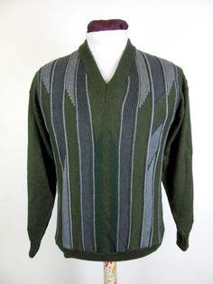 Vintage Men s Jumper Moss Green Textured Stripe V-Neck Merino Wool Blend Size M