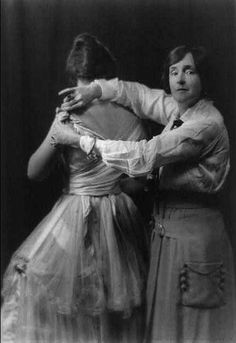 Lady Duff Gordon with one of her models in her New York design studio, 1916