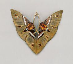 Moth Pendant, ca. 1900Lucien Gaillard (French, 1861–1933)Gold, enamel, citrine, and horn.