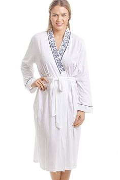 Classic White Bathrobe With Navy Floral Design Motif Floral 95478a05d