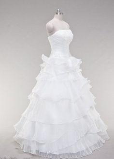 Strapless A Line Organza Wedding Dress plz repin, like or follow!