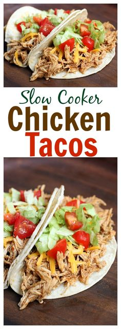 The EASIEST and tastiest dinner! Slow Cooker Chicken Tacos are one of our go-to weeknight meals! On TastesBetterFromScratch.com