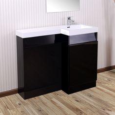 Aston Right Hand Black Gloss Bathroom White Basin Vanity Unit & Toilet Unit - 1000mm