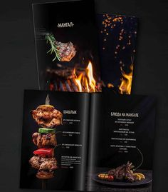 Photo & Design for restaurant menu in Italic style. Idea and food style Cafe Menu Design, Menu Card Design, Food Menu Design, Restaurant Menu Design, Restaurant Identity, Stationary Design, Menu Steak House, Steak Menu, Bbq Menu