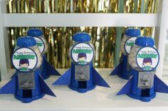 Buzz Lightyear 2nd Birthday ~ Mini Gumball Dispenser Spaceships | Seshalyn's Party Ideas