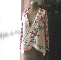Romancing Rose Cardy, Vintage Embroidered, Linen, Pink, Red, White, Rustic, Boho, Cardigan, Upcycled. $155.00, via Etsy.
