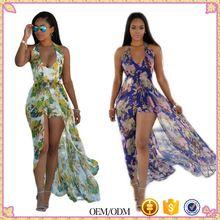Boho Chiffon Dress Women Summer 2017 Sexy Split Halter Sleeveless Maxi  Dresses Female Floral Print Beachwear de8747ad6fdb