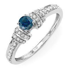 0.40 Carat (ctw) 14k White Gold Round Blue and White Diamond Ladies Bridal Engagement Promise Ring DazzlingRock Collection. $259.00. Crafted in 14K White Gold.. Diamond Color / Clarity : H-I / I1-I2. Ring is smaller than what appears in the photo. Weighs approximately 2.20 grams. Items is smaller than what appears in photo. Photo enlarged to show detail
