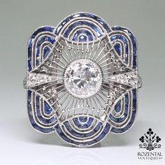 A late Art Deco sapphire, diamond and platinum brooch, the double fan-shaped brooch . - Diy Jewelry Projects - A late Art Deco sapphire, diamond and platinum brooch, the double fan-shaped brooch … - Art Deco Schmuck, Bijoux Art Nouveau, Diy Schmuck, Art Deco Ring, Art Deco Jewelry, Fine Jewelry, Jewelry Design, Jewish Jewelry, Dog Jewelry