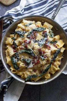 Pin for Later: 25 Lip-Smackingly-Good Recipes That Combine 2 of the Best Things, Pasta and Bacon Creamy Butternut Rigatoni With Pancetta and Brown-Butter-Fried Sage Get the recipe: creamy butternut rigatoni with pancetta and brown-butter-fried sage Autumn Pasta Recipes, Vegetarian Pasta Recipes, Fall Dinner Recipes, Fall Recipes, Cooking Recipes, Dinner Ideas, Budget Recipes, Meal Ideas, Tortellini