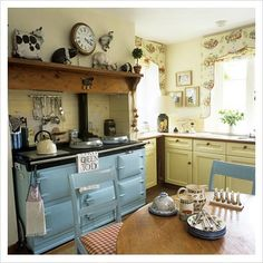 Cottage kitchen with powered blue aga. Like the shelf! Vintage Stoves, Chic Kitchen, Vintage Kitchen, Kitchen Decor, Aga Kitchen, New Kitchen, Country Kitchen, Kitchen Dining, Home Kitchens