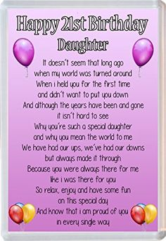 Image Result For 21st Birthday Poems Daughter