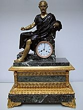 A Giant French Marble And Gilt,- Bronze Mantel Clock From Period C1855.