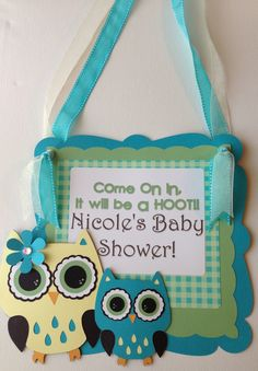 Owl baby shower door sign by Dragonfly Papier on Etsy.