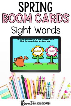 Need Boom Cards to practice sight words this spring? These ones are super engaging and perfect for kindergarten and first grade students. Click the pin to see the digital task cards included in this seasonal resource! Fry Sight Words, Sight Words List, Spring Activities, Learning Activities, Task Cards, First Grade, Phonics, Literacy, Kindergarten