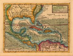 pirates of the west indies | Map of the West-Indies  Mexico or New Spain. Also the trade Winds ...