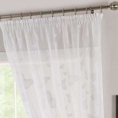 Lightly dressing your windows with its lacy fabric, this white voile panel features a repeating butterfly pattern for an elegant look to you décor. Voile Panels, Voile Curtains, White Butterfly, Butterfly Pattern, Motif Design, Lily, Bedroom Inspiration, Bedroom Ideas, Elegant