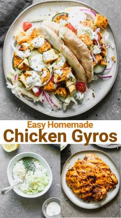 Chicken Gyros include delicious marinated chicken grilled and layered on a pita with yogurt sauce lettuce tomato onion and cucumber. This fresh and healthy meal idea is one of our family favorites! Yummy Chicken Recipes, Baby Food Recipes, Dinner Recipes, Cooking Recipes, Kid Recipes, Healthy Family Dinners, Healthy Meals For Kids, Healthy Recipes, Chicken Gyros