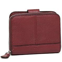 Women's Clutch Handbags - Coach Leather Medium Zip Around Wallet 51766 Crimson -- Want additional info? Click on the image.