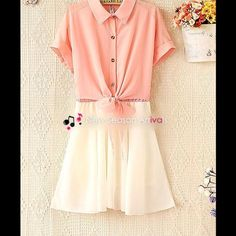 """Color-Block Tie-Front Shirt Dress Color-Block Tie-Front Shirt Dress, very sheer and comfortable for summer time. Color: pink. ✘Trade ✘PP ✔Price Negotiable ✔Bundle bust:88cm/34.6"""" sleeve length: 25cm/9.8"""" sleeve opening: 30cm/11.8"""" total length: 80cm/31.5"""" waist: 86cm/33.9"""" material: chiffon - polyester lining: polyamide Dresses"""