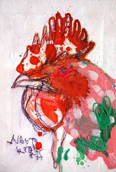 naoto kitamura 10854 Watercolor Paintings Abstract, Watercolor Trees, Watercolor Portraits, Watercolor Landscape, Art Journal Inspiration, Painting Inspiration, Rooster Art, Nature Sketch, Chicken Art