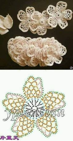 Crochet Flowers Patterns/Patrones de flores a crochet - Ugh Tsi Gilet Crochet, Freeform Crochet, Crochet Motif, Crochet Stitches, Crochet Leaves, Crochet Flowers, Irish Crochet Patterns, Crochet Flower Tutorial, Crochet For Kids