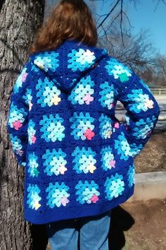Granny Square Style Coat with Hood | Etsy