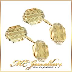 Vintage Gold Art Deco Cufflinks - ME Jewellers Vintage Art Deco cufflinks, European made in 14ct yellow gold,  featuring stepped geometric shoulders & scrolling engraved detail. AU$395 Shop online or  visit our Melbourne jewellery store, we're open 7 days a week, for your convenience. www.mejewellers.com.au