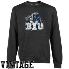 BYU Cougars Charcoal Distressed Logo Vintage Premium Crew Neck Fleece Sweatshirt