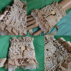 Marie Antoinette cuff  shabby chic wrist cuff antique laces