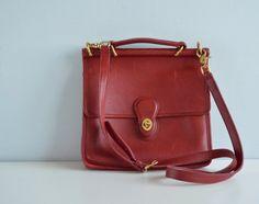 Vintage CHERRY Red Coach Bag / 1980s Coach Willis Red by zestvintage, $148.00