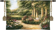 """$159.99 Westbury Gardens Wall Tapestry 53"""" x 34"""" 1500-WH features a meandering walk lined with vibrant spring flowers leads to a peaceful secluded gazebo  http://www.delectably-yours.com/Tapestry-Wall-Hangings-C9.aspx"""