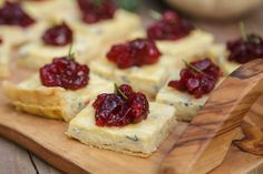 Flaky, golden crust filled with a blue cheese custard and topped with tart cranberry sauce. The perfect little nibble to awaken the palate.