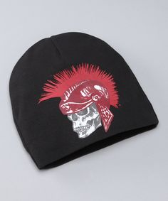 Look at this Pink Axle Black & Red Gladiator Skull Beanie on #zulily today!