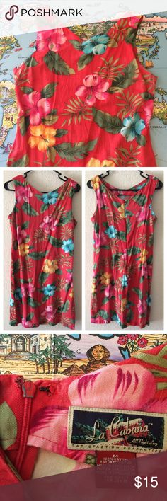 La Cabana Dress Hawaiian dress by La Cabana All Night Long 😍 Good vintage condition with wear around the edges and someone reinforced the clasps by the top of the zipper (examples pictured). Cat friendly home. No trades, holds or Paypal. 20% off of 2+ bundles. Vintage Dresses
