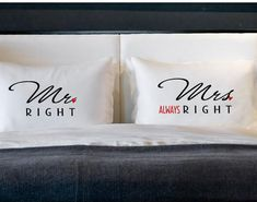 Mr Right Mrs Always Right Pillow Cases for Pillows, Weddings, Engagement Couples Gifts, Cotton Anniversary on Etsy, $25.00