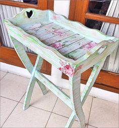 Shabby Chic Wooden Craft with Decoupage Finishing, and use Servietten pattern, you can find wooden tray, wooden rack, wooden shabby vintage craft. for more detail please visit www.facebook.com/myleatique