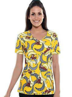 Cherokee HQ Women Banana Cabana V-neck Nursing Scrub Top