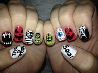 Done By Me. Mix and match Halloween Nail Design.