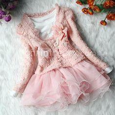 Girl's Solid Pink/Beige Skirt Set,Cute Ruff Collar Long Sleeve Flower - EUR € 11.39
