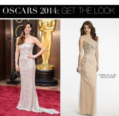 Jessica Biel Oscar 2014 Dress vs Camille La Vie Mesh Over Lace Prom Dress