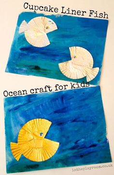 Cupcake Liner Fish in a Watercolour Sea - In The Playroom